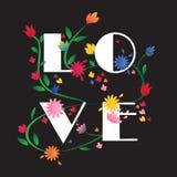 Bunter LIEBES-Blumenillustrationsschwarzhintergrund Stockfoto