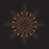 Bunter Mandala Doodle Vector Schwarzhintergrund Henna Tattoo Flowers vektor abbildung