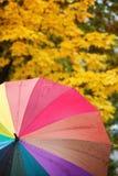 Bunter mehrfarbiger Regenschirm auf gelbem Herbstlaub Lizenzfreies Stockbild