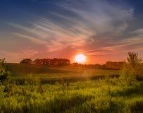 Bunter Mittelwesten-Sonnenuntergang Stockbilder