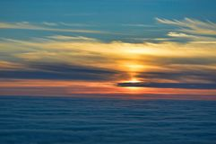 Bunter Mitternachtssonnensonnenuntergang von Nordkapp, Norwegen Lizenzfreie Stockbilder