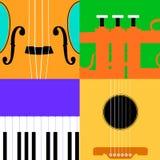 Bunter Musikinstrumenthintergrund Stockfotos