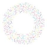 Bunter Musikrahmen des Kreises in der Gekritzelart Stockbild