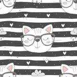 Bunter nahtloser Musterhintergrund der netten Katzen Lizenzfreie Stockbilder