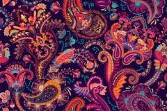 Bunter Paisley für Gewebe, Abdeckung, Packpapier, Netz Ethnische Vektortapete mit dekorativen Elementen stock abbildung