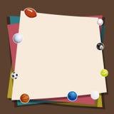 Bunter Papier-und Ball-Spiel-Aufkleber-Hintergrund Stockfotografie