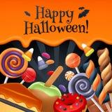 Bunter Parteihintergrund Halloween-Bonbons Lizenzfreies Stockfoto