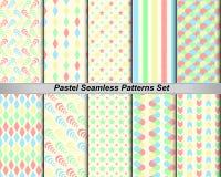 bunter Pastell des gesetzten nahtlosen Hintergrundes des Musters 10 (mit Mustern) Lizenzfreie Stockfotos