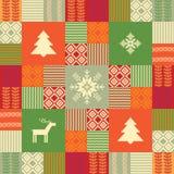 Bunter Patchworkart-Weihnachtshintergrund Stockfotografie