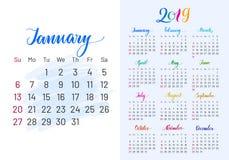 Bunter Planer, 2019, Januar separat Stockbilder
