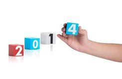 Bunter Plastik des Jahres nummeriert auf einem weißen Hintergrund Stockfoto
