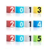 Bunter Plastik des Jahres nummeriert auf einem weißen Hintergrund Lizenzfreies Stockfoto