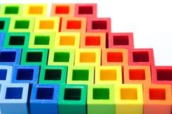 Bunter Plastikblockabschluß oben lizenzfreies stockfoto