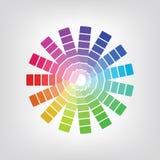 Bunter Radialsteigungsausweis gemacht von den Regenbogenspektralfarben gesetzt auf hellen weißen Hintergrund Stockbilder