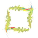 Bunter Rand mit grünen Blumen Lizenzfreies Stockbild