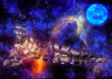 Bunter Raumhintergrund mit einem Fantasiemädchen Lizenzfreies Stockfoto