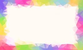 Bunter Regenbogenpolygonhintergrund oder Vektorrahmen lizenzfreies stockfoto
