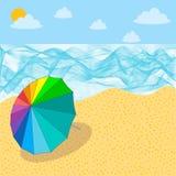 Bunter Regenschirm auf dem Strand, Regenbogenfarbe des Regenschirmes auf Sandstrand stock abbildung