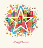 Bunter Retro- Stern der Zusammenfassung der frohen Weihnachten Stockbilder