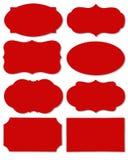 Bunter roter Satz der unterschiedlichen Spracheblase als Wolke lokalisiert auf leerem weißem Hintergrund lizenzfreie stockfotografie
