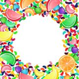 Bunter Süßigkeitshintergrund mit Geleebonbons und Geleesüßigkeiten Lizenzfreie Stockfotografie