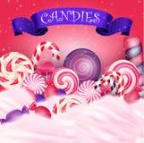 Bunter Süßigkeitshintergrund mit realistischem blauem Band Lizenzfreie Stockfotografie