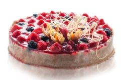 Bunter Sahnekuchen mit Schokolade wirbelt, Konditorei, Süßspeise, Fotografie für Shop, köstlicher Geburtstagskuchen Stockbild
