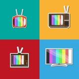 Bunter Satz alter Fernsehentwicklung Lizenzfreies Stockfoto