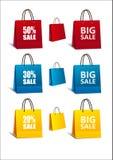 Bunter Satz der Einkaufstaschen Stockfotos