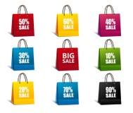Bunter Satz der Einkaufstaschen Lizenzfreie Stockfotos