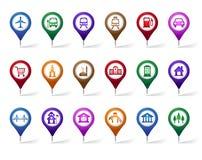 Bunter Satz des Standorts, der Plätze, der Reise und des Bestimmungsortes Pin Icons Lizenzfreie Stockfotografie