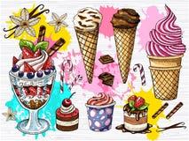 Bunter Satz Eiscreme-Schokoladenfruchtnachtische Eiscreme, Creme, Erdbeernachtisch, Schokolade, Vanille haftet, blüht Lizenzfreie Stockfotos
