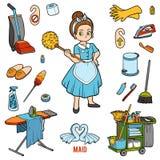 Bunter Satz mit Mädchen und Gegenstände für das Säubern Karikaturaufkleber lizenzfreie abbildung