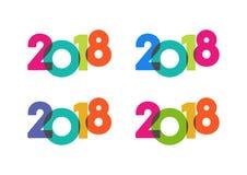 Bunter Satz mit 2018 Texten des guten Rutsch ins Neue Jahr Stockfotografie