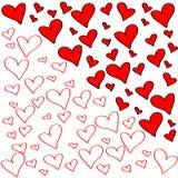 Bunter Satz rote und weiße Herzen Stockfoto
