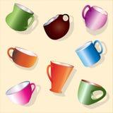 Bunter Satz Waren für das Teetrinken lizenzfreie abbildung