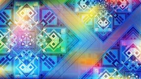Bunter schillernder Hintergrund mit schönen quadratischen Verzierungen Vektorabstrakte Abbildung Magischer Hintergrund Stockfotos