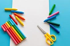 Bunter Schulbedarf für das Zeichnen Lizenzfreie Stockbilder