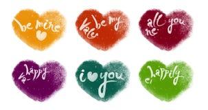 Bunter Snowy belebte die Herzen, die mit dem Valentinsgruß-Beschriften eingestellt wurden stock video