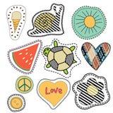 Bunter Sommer der glücklichen Stickerei bessert Sammlung aus Lizenzfreies Stockfoto