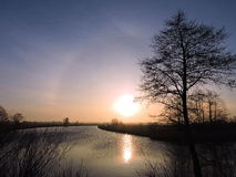 Bunter Sonnenaufgang, Litauen Stockfotos