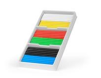 Bunter Stücksatz des Modellierens des Lehms oder des Plasticine mit Regenbogen Stockfoto