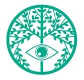 Bunter stilisierter Baum mit Auge Stockfoto