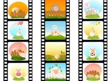 Bunter Streifen des unbelegten Filmes mit Schafen Stockbild