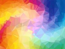 Bunter Strudelregenbogen-Polygonhintergrund Bunter abstrakter Vektor Abstraktes Regenbogenfarbedreieck geometrisch Lizenzfreies Stockbild