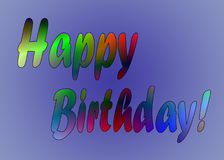 Bunter Text alles Gute zum Geburtstag auf blauem Hintergrund Stockbilder
