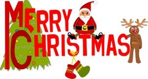 Bunter Text der frohen Weihnachten. Lizenzfreie Stockbilder