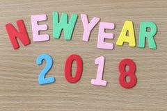 Bunter Text des neuen Jahres Stockbild