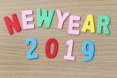Bunter Text des neuen Jahres Stockfotografie