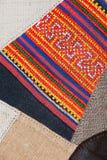 Bunter thailändischer peruanischer Artwolldecken-Oberflächenabschluß oben Mehr dieses Motivs u. mehr Gewebe in meinem Hafen tatte Stockfoto